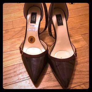 Women burgundy pointed toe pumps